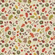 Lewis & Irene Autumn in Bluebell Wood - 5514 - Woodland Mouse on Cream - A248.1 - Cotton Fabric